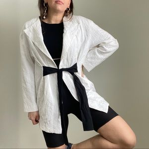 ZARA White Textured Blazer Black Rope Tie SMALL